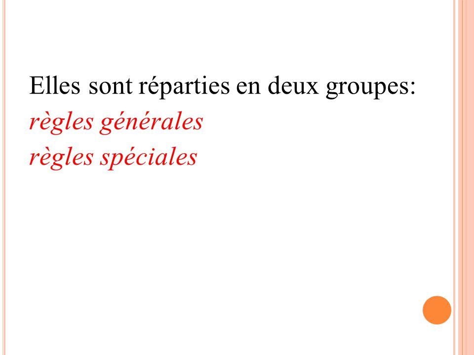 Elles sont réparties en deux groupes: règles générales règles spéciales