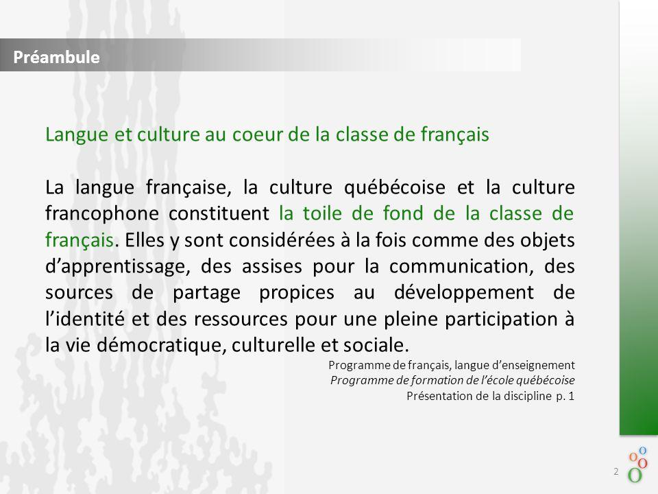 Préambule Langue et culture au coeur de la classe de français La langue française, la culture québécoise et la culture francophone constituent la toile de fond de la classe de français.