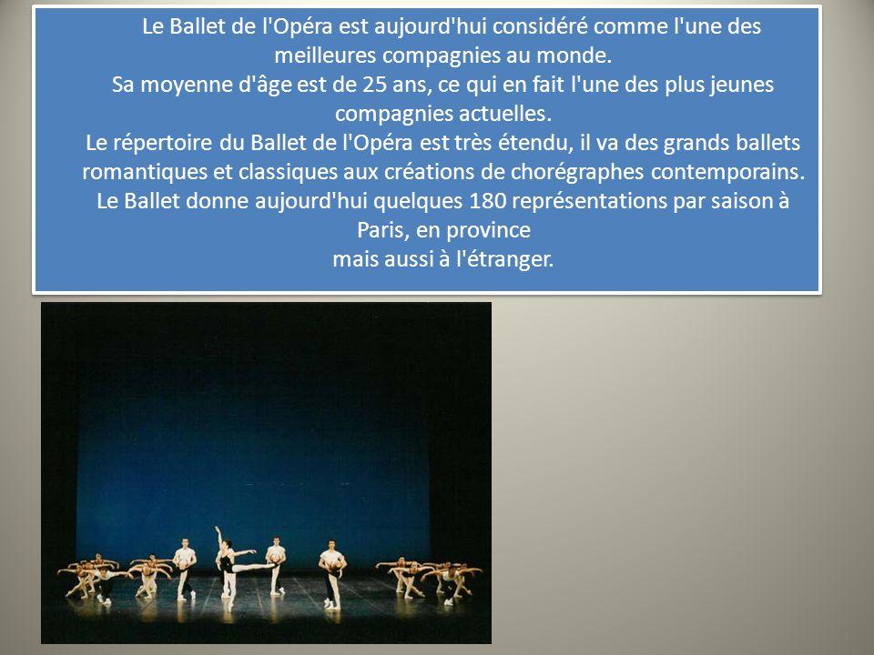 Le Ballet de l'Opéra est aujourd'hui considéré comme l'une des meilleures compagnies au monde. Sa moyenne d'âge est de 25 ans, ce qui en fait l'une de