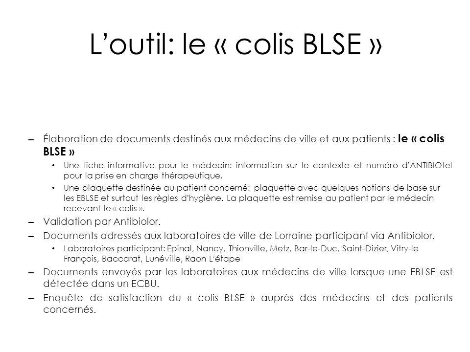 L'outil: le « colis BLSE » – Élaboration de documents destinés aux médecins de ville et aux patients : le « colis BLSE » Une fiche informative pour le
