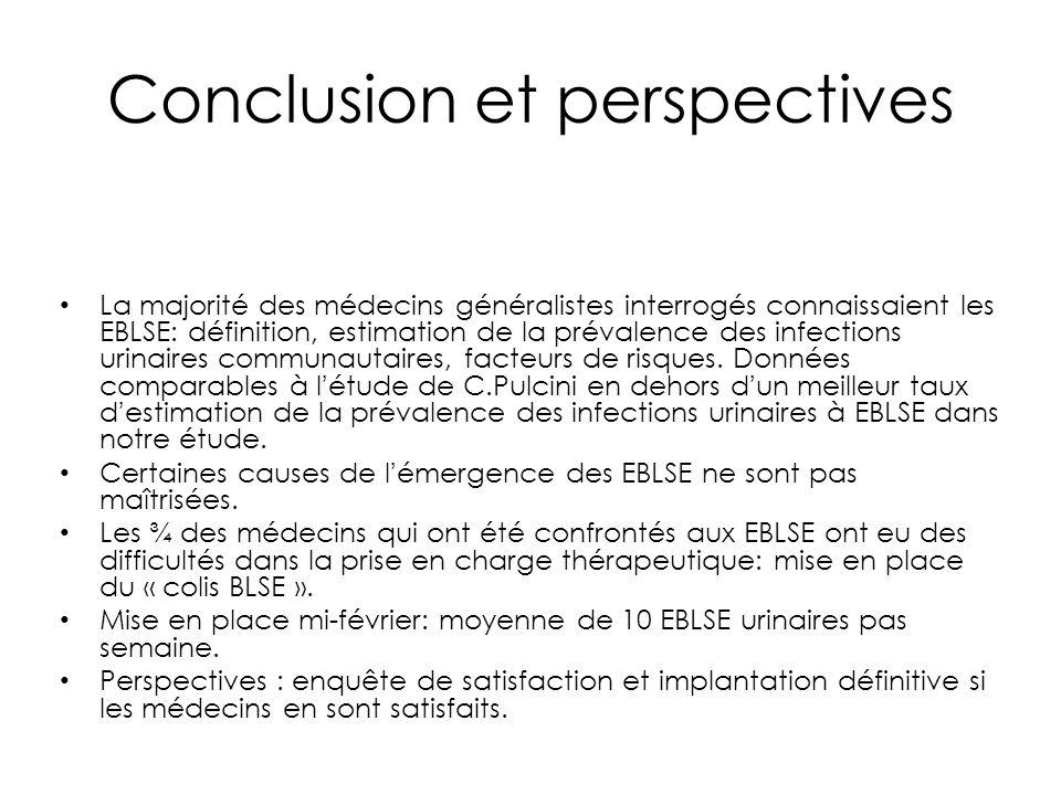 Conclusion et perspectives La majorité des médecins généralistes interrogés connaissaient les EBLSE: définition, estimation de la prévalence des infec