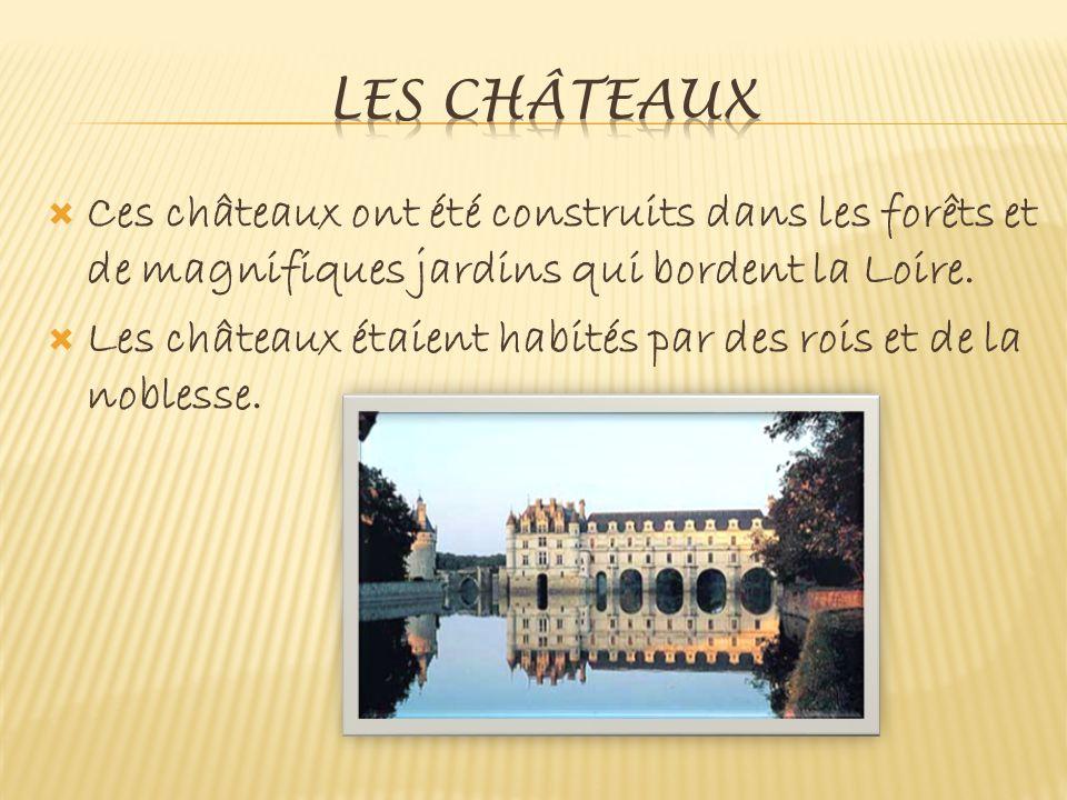  Ces châteaux ont été construits dans les forêts et de magnifiques jardins qui bordent la Loire.