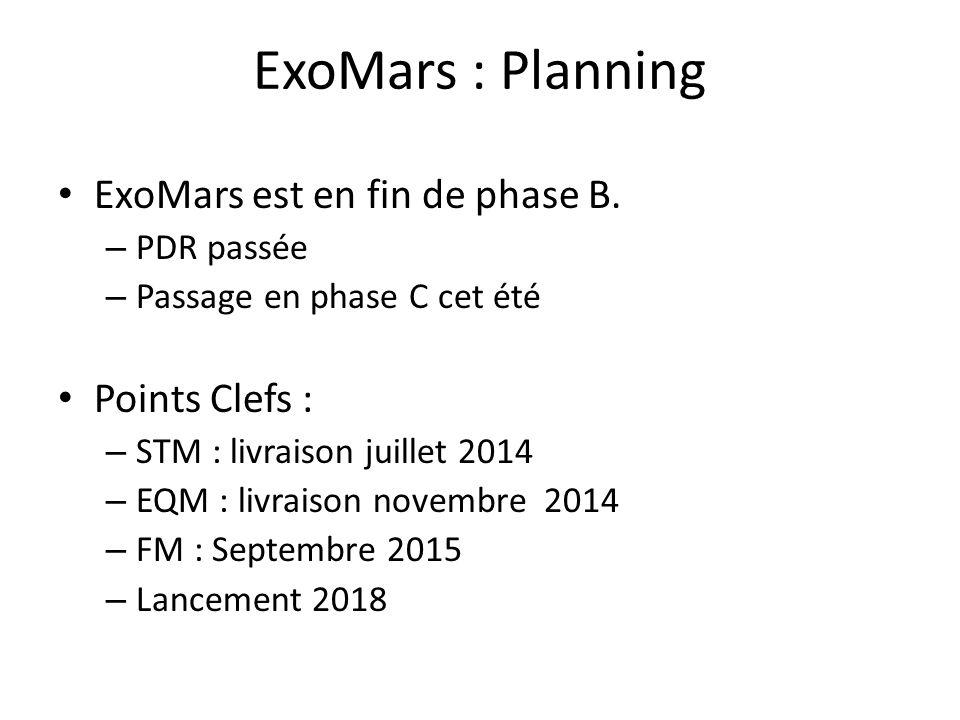 ExoMars : Planning ExoMars est en fin de phase B. – PDR passée – Passage en phase C cet été Points Clefs : – STM : livraison juillet 2014 – EQM : livr
