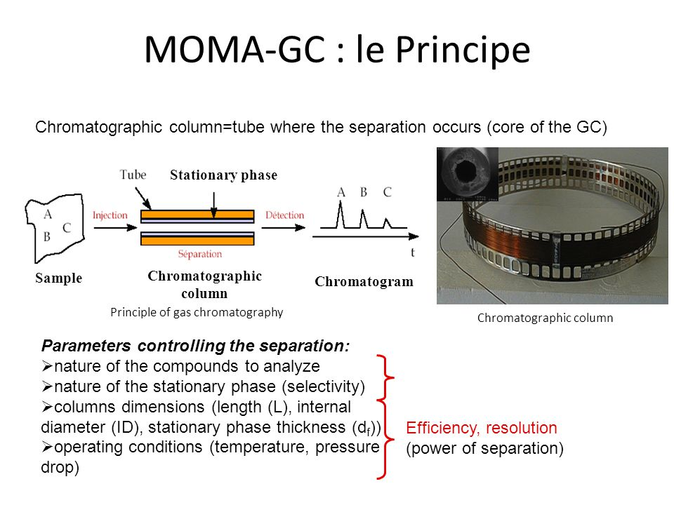 MOMA-GC : le Principe Chromatographic column=tube where the separation occurs (core of the GC) Parameters controlling the separation:  nature of the