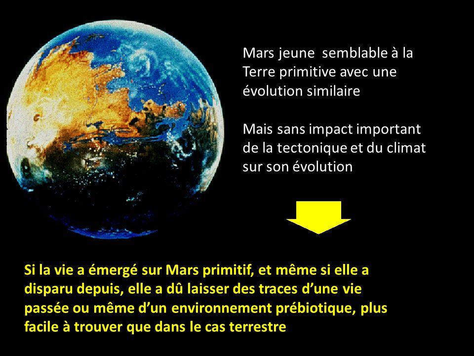 Mars jeune semblable à la Terre primitive avec une évolution similaire Mais sans impact important de la tectonique et du climat sur son évolution Si la vie a émergé sur Mars primitif, et même si elle a disparu depuis, elle a dû laisser des traces d'une vie passée ou même d'un environnement prébiotique, plus facile à trouver que dans le cas terrestre