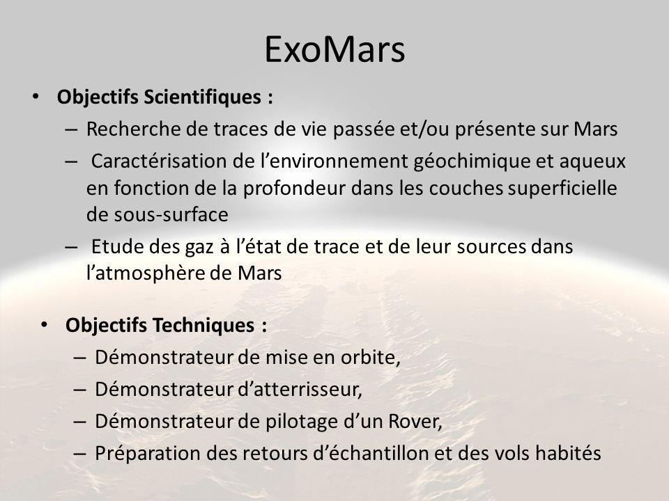 ExoMars Objectifs Techniques : – Démonstrateur de mise en orbite, – Démonstrateur d'atterrisseur, – Démonstrateur de pilotage d'un Rover, – Préparation des retours d'échantillon et des vols habités Objectifs Scientifiques : – Recherche de traces de vie passée et/ou présente sur Mars – Caractérisation de l'environnement géochimique et aqueux en fonction de la profondeur dans les couches superficielle de sous-surface – Etude des gaz à l'état de trace et de leur sources dans l'atmosphère de Mars