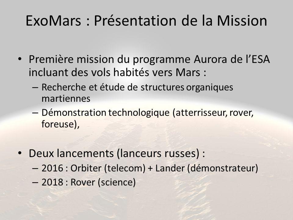ExoMars : Présentation de la Mission Première mission du programme Aurora de l'ESA incluant des vols habités vers Mars : – Recherche et étude de struc
