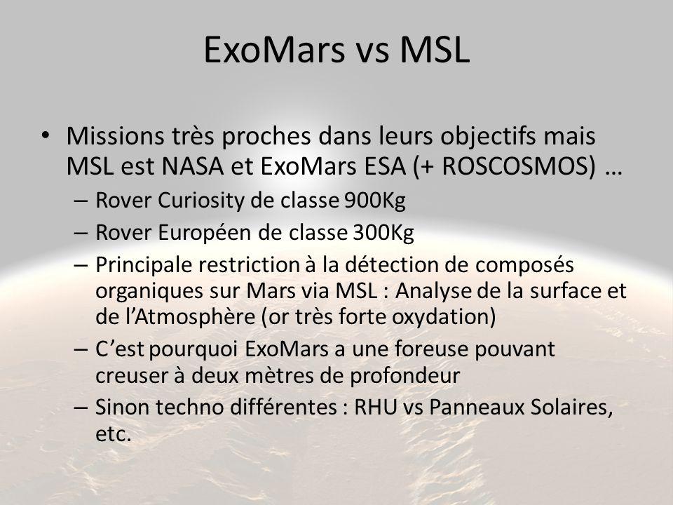 ExoMars vs MSL Missions très proches dans leurs objectifs mais MSL est NASA et ExoMars ESA (+ ROSCOSMOS) … – Rover Curiosity de classe 900Kg – Rover Européen de classe 300Kg – Principale restriction à la détection de composés organiques sur Mars via MSL : Analyse de la surface et de l'Atmosphère (or très forte oxydation) – C'est pourquoi ExoMars a une foreuse pouvant creuser à deux mètres de profondeur – Sinon techno différentes : RHU vs Panneaux Solaires, etc.