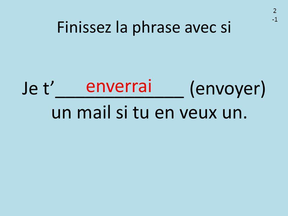 Finissez la phrase avec si Je t'_____________ (envoyer) un mail si tu en veux un. enverrai 2