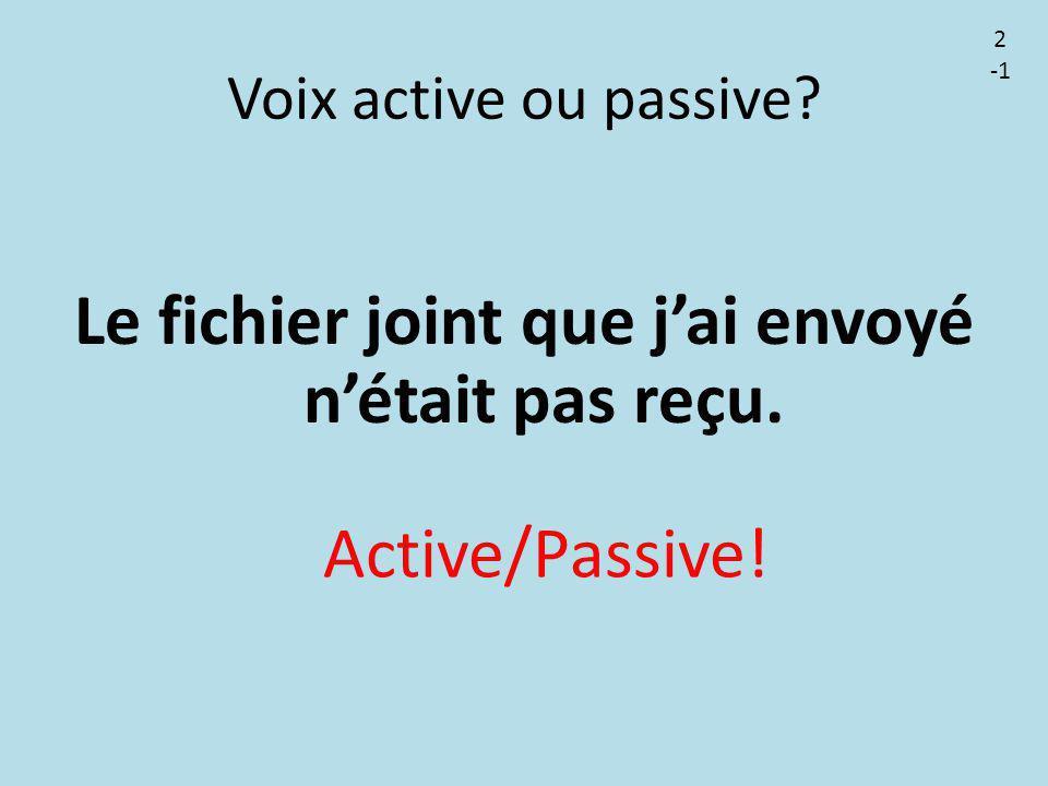 Voix active ou passive? Le fichier joint que j'ai envoyé n'était pas reçu. Active/Passive! 2