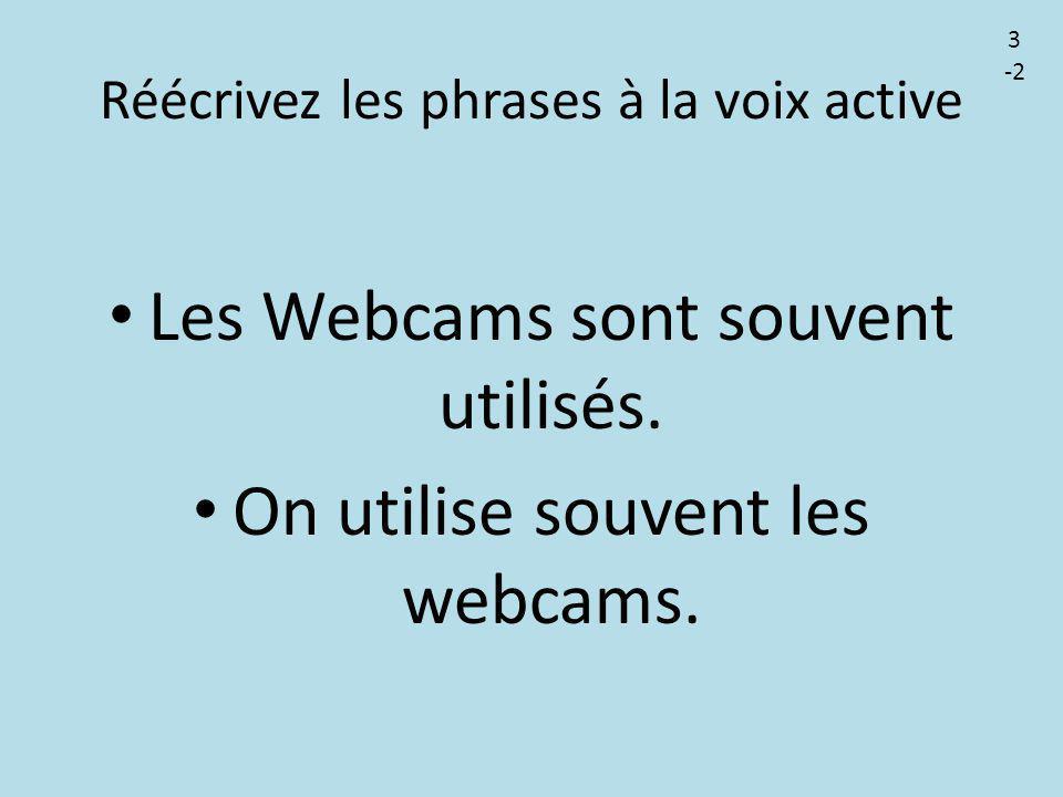 Réécrivez les phrases à la voix active Les Webcams sont souvent utilisés. On utilise souvent les webcams. 3 -2