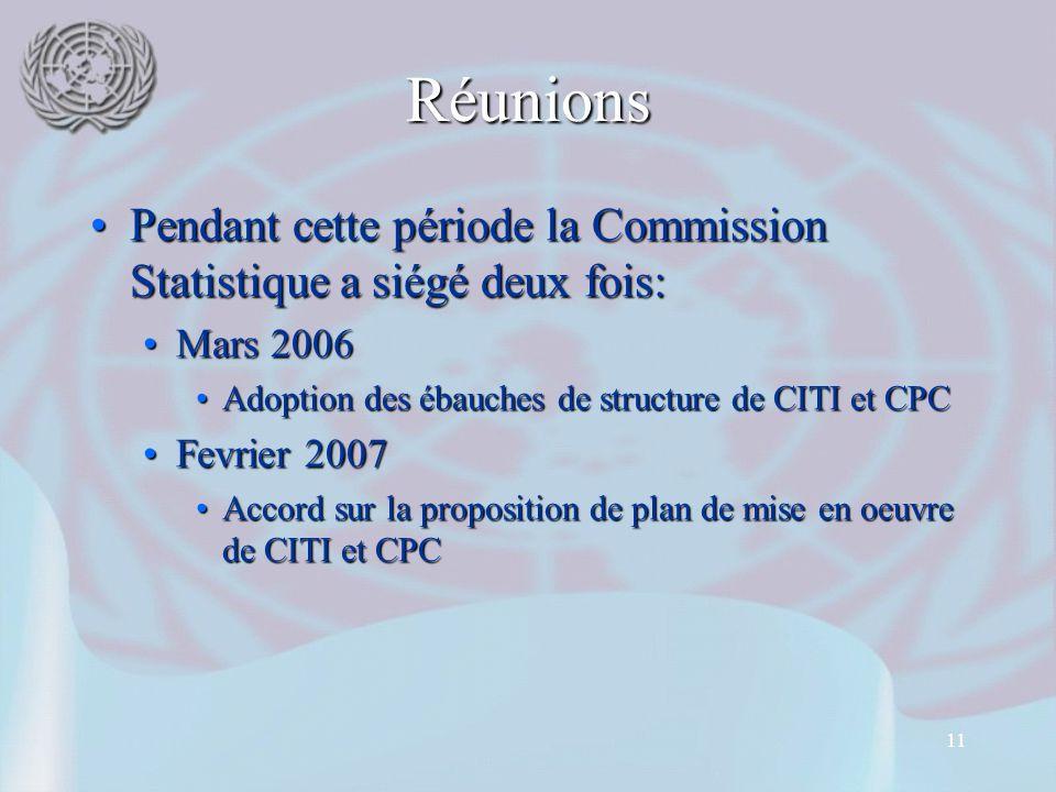 11 Réunions Pendant cette période la Commission Statistique a siégé deux fois:Pendant cette période la Commission Statistique a siégé deux fois: Mars 2006Mars 2006 Adoption des ébauches de structure de CITI et CPCAdoption des ébauches de structure de CITI et CPC Fevrier 2007Fevrier 2007 Accord sur la proposition de plan de mise en oeuvre de CITI et CPCAccord sur la proposition de plan de mise en oeuvre de CITI et CPC