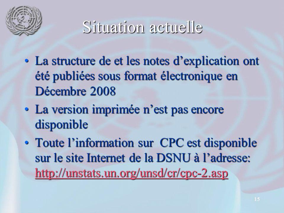 15 Situation actuelle La structure de et les notes d'explication ont été publiées sous format électronique en Décembre 2008La structure de et les notes d'explication ont été publiées sous format électronique en Décembre 2008 La version imprimée n'est pas encore disponibleLa version imprimée n'est pas encore disponible Toute l'information sur CPC est disponible sur le site Internet de la DSNU à l'adresse: http://unstats.un.org/unsd/cr/cpc-2.aspToute l'information sur CPC est disponible sur le site Internet de la DSNU à l'adresse: http://unstats.un.org/unsd/cr/cpc-2.asp http://unstats.un.org/unsd/cr/cpc-2.asp
