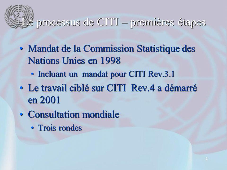 2 Le processus de CITI – premières étapes Mandat de la Commission Statistique des Nations Unies en 1998Mandat de la Commission Statistique des Nations Unies en 1998 Incluant un mandat pour CITI Rev.3.1Incluant un mandat pour CITI Rev.3.1 Le travail ciblé sur CITI Rev.4 a démarré en 2001Le travail ciblé sur CITI Rev.4 a démarré en 2001 Consultation mondialeConsultation mondiale Trois rondesTrois rondes