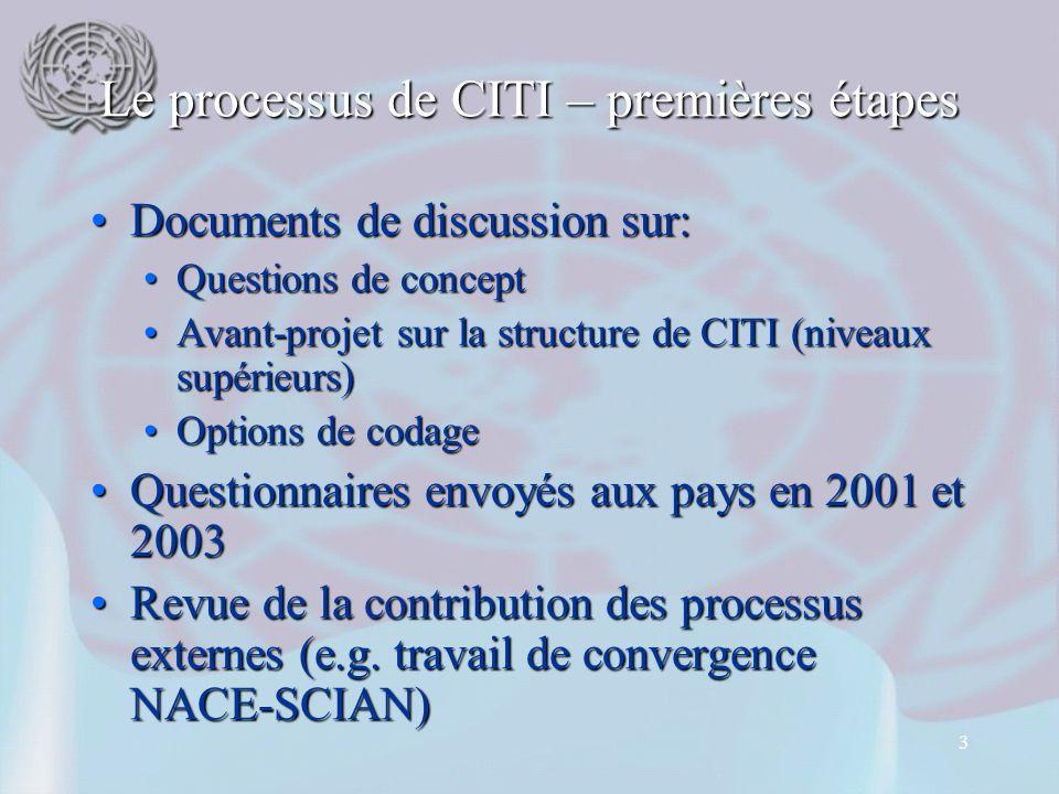 14 Situation actuelle CITI Rev.4 a été publiée sous format électronique en Août 2008CITI Rev.4 a été publiée sous format électronique en Août 2008 Versions traduites (en-ligne et imprimé) disponibles depuis Octobre 2009Versions traduites (en-ligne et imprimé) disponibles depuis Octobre 2009 Les Tables de correspondance CITI 4 – CITI 3.1 (et autres) ont été publiéesLes Tables de correspondance CITI 4 – CITI 3.1 (et autres) ont été publiées Toute l'information sur CITI est disponible sur le site Internet de la DSNU à l'adresse: http://unstats.un.org/unsd/cr/isic-4.aspToute l'information sur CITI est disponible sur le site Internet de la DSNU à l'adresse: http://unstats.un.org/unsd/cr/isic-4.asp http://unstats.un.org/unsd/cr/isic-4.asp