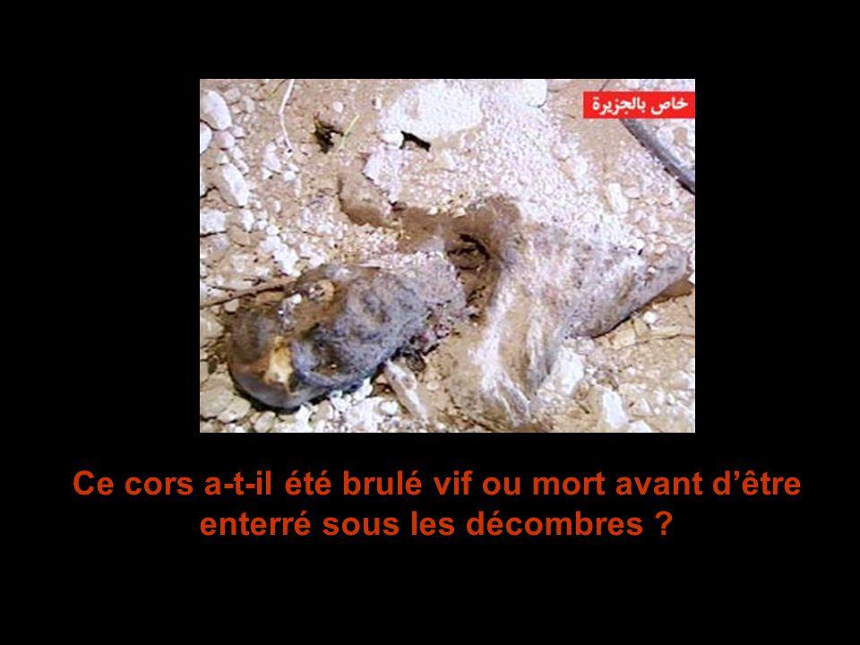 Ce cors a-t-il été brulé vif ou mort avant d'être enterré sous les décombres