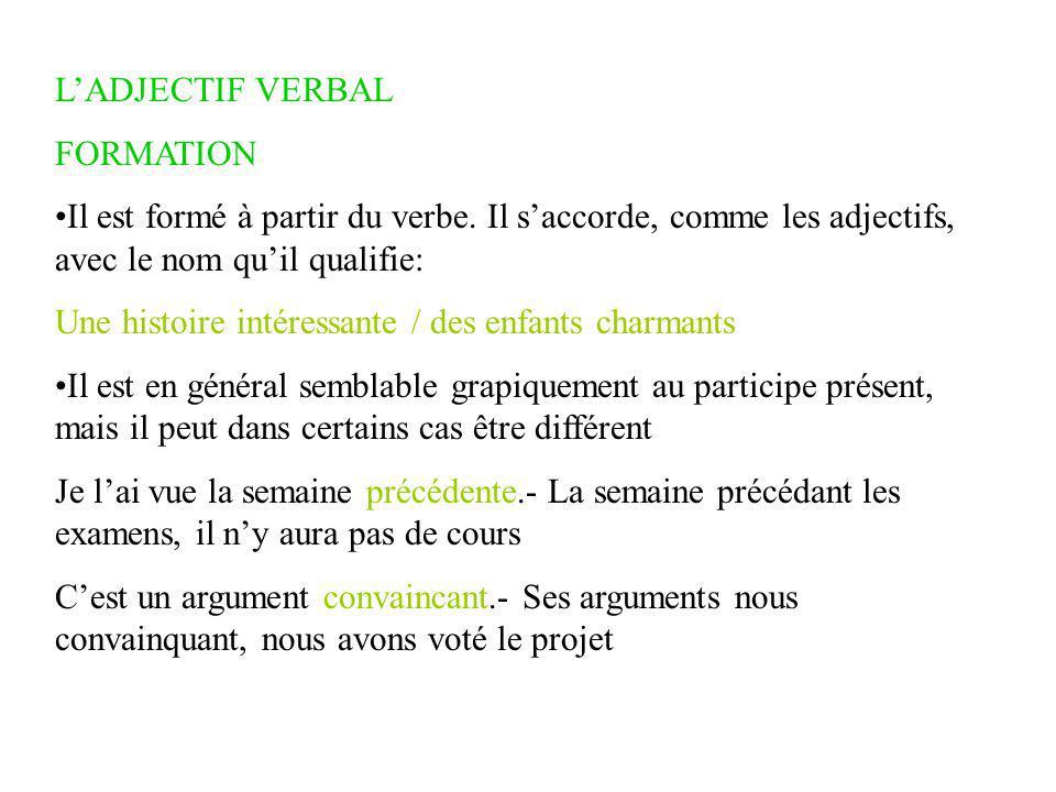 L'ADJECTIF VERBAL FORMATION Il est formé à partir du verbe.