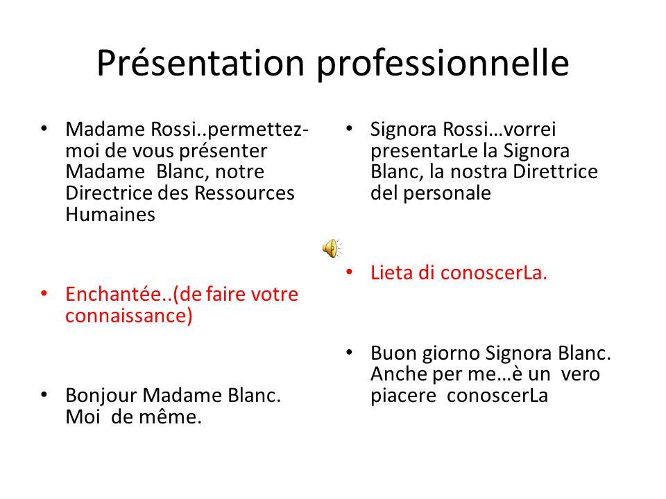 Présentation Formelle Bonjour Madame Rossi Bonjour Madame Leblanc…..comment allez-vous.