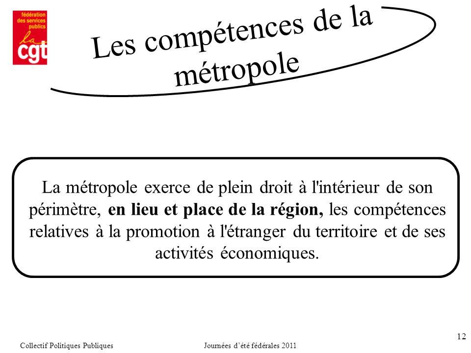 12 La métropole exerce de plein droit à l intérieur de son périmètre, en lieu et place de la région, les compétences relatives à la promotion à l étranger du territoire et de ses activités économiques.