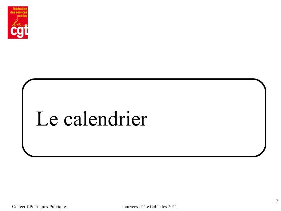 17 Le calendrier Collectif Politiques PubliquesJournées d'été fédérales 2011