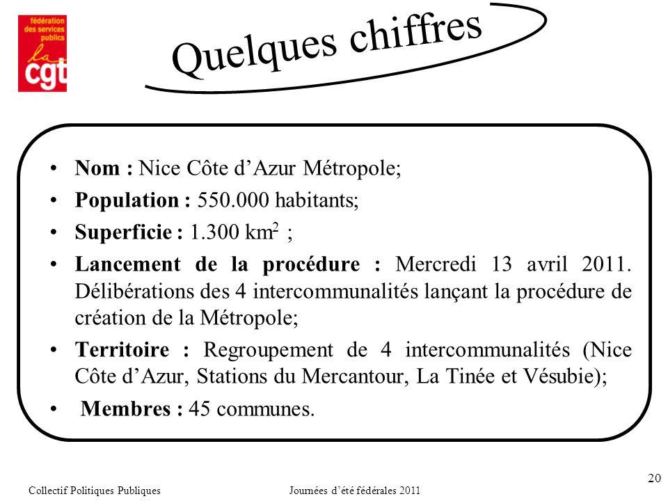 20 Nom : Nice Côte d'Azur Métropole; Population : 550.000 habitants; Superficie : 1.300 km 2 ; Lancement de la procédure : Mercredi 13 avril 2011.