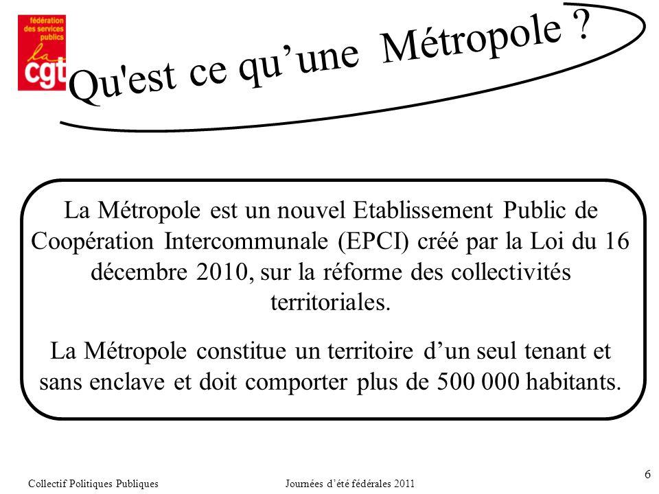 6 La Métropole est un nouvel Etablissement Public de Coopération Intercommunale (EPCI) créé par la Loi du 16 décembre 2010, sur la réforme des collectivités territoriales.