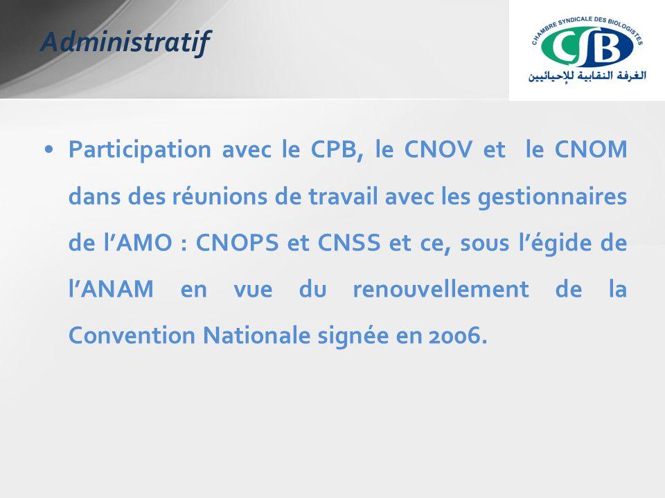 Participation avec le CPB, le CNOV et le CNOM dans des réunions de travail avec les gestionnaires de l'AMO : CNOPS et CNSS et ce, sous l'égide de l'ANAM en vue du renouvellement de la Convention Nationale signée en 2006.
