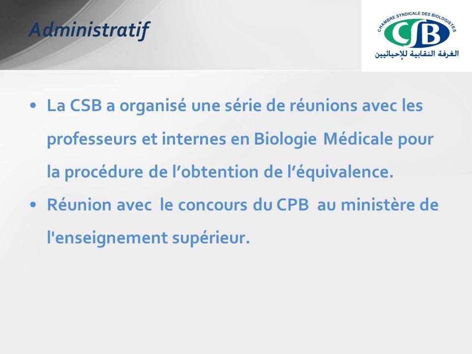 La CSB a organisé une série de réunions avec les professeurs et internes en Biologie Médicale pour la procédure de l'obtention de l'équivalence.
