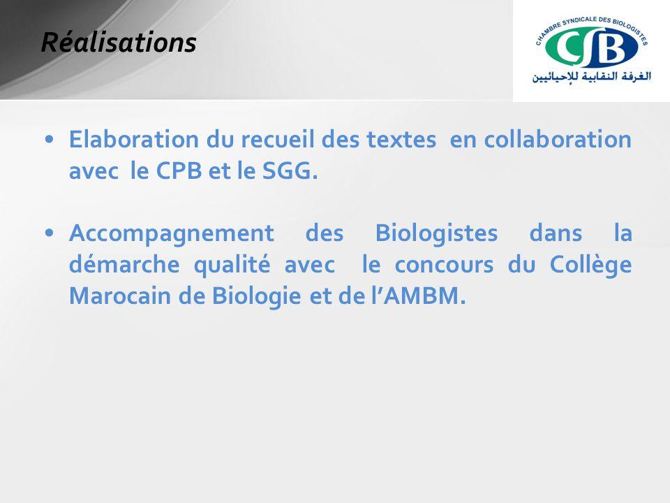 Elaboration du recueil des textes en collaboration avec le CPB et le SGG.