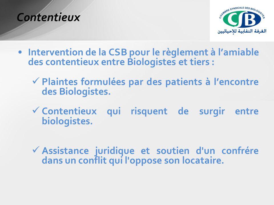 Intervention de la CSB pour le règlement à l'amiable des contentieux entre Biologistes et tiers : Plaintes formulées par des patients à l'encontre des Biologistes.
