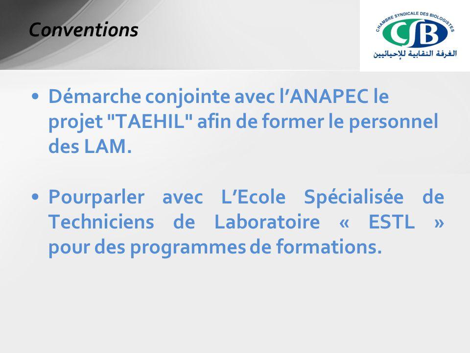 Démarche conjointe avec l'ANAPEC le projet TAEHIL afin de former le personnel des LAM.