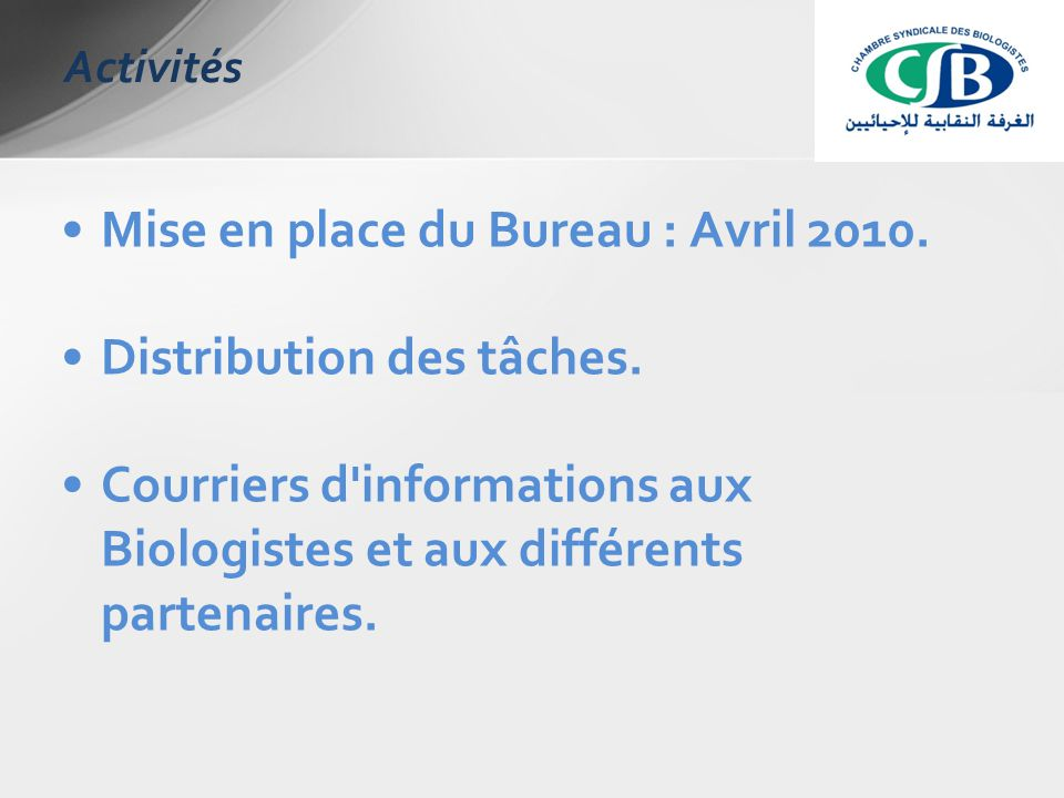 Mise en place du Bureau : Avril 2010. Distribution des tâches.
