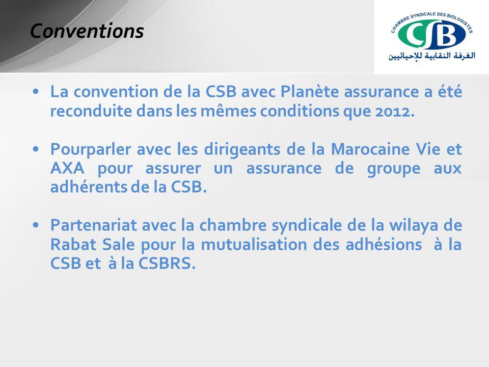La convention de la CSB avec Planète assurance a été reconduite dans les mêmes conditions que 2012.