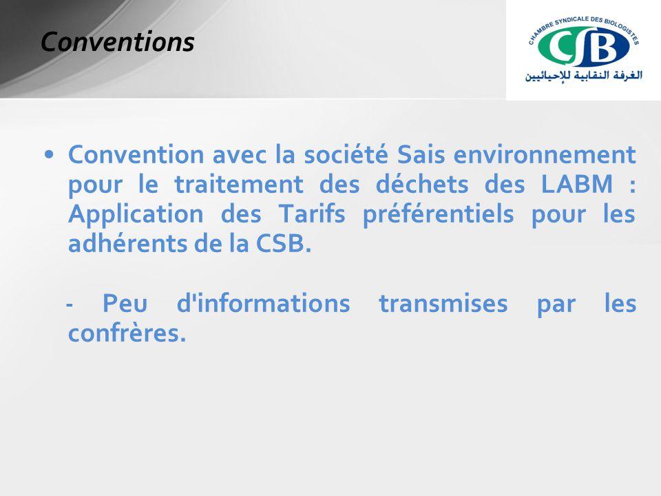 Convention avec la société Sais environnement pour le traitement des déchets des LABM : Application des Tarifs préférentiels pour les adhérents de la CSB.
