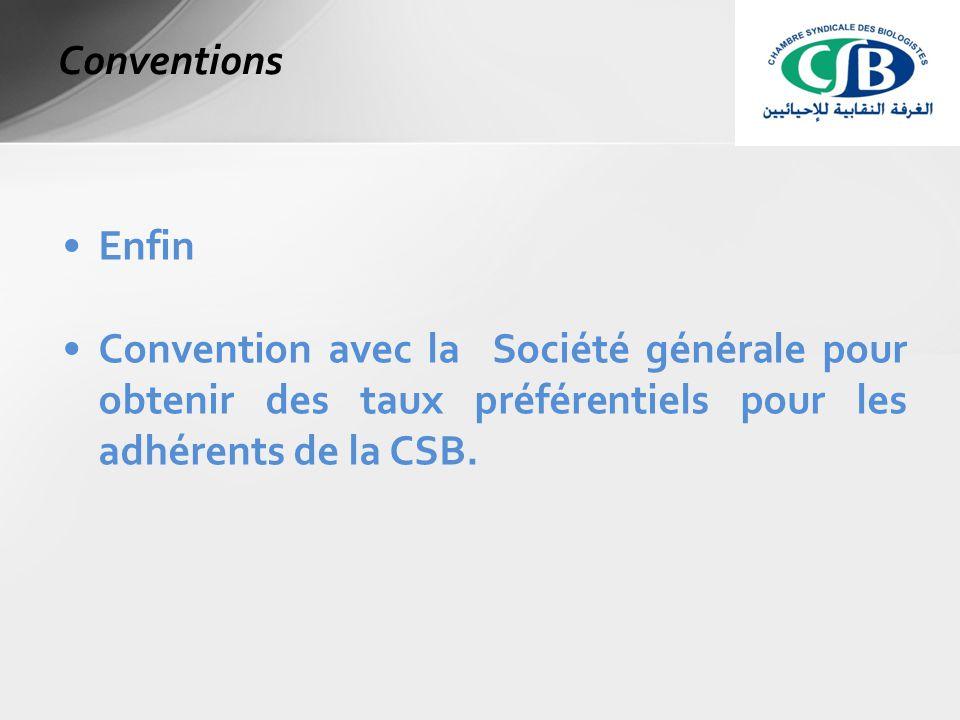 Enfin Convention avec la Société générale pour obtenir des taux préférentiels pour les adhérents de la CSB.