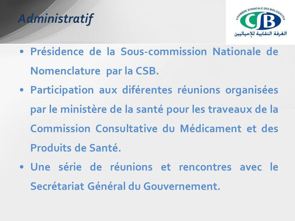 Présidence de la Sous-commission Nationale de Nomenclature par la CSB.