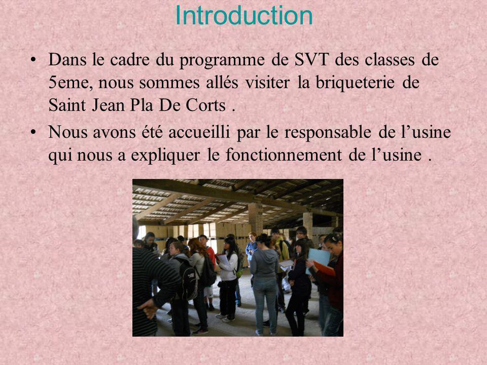 Introduction Dans le cadre du programme de SVT des classes de 5eme, nous sommes allés visiter la briqueterie de Saint Jean Pla De Corts. Nous avons ét