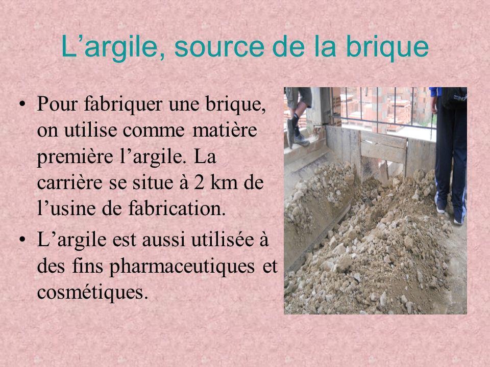 L'argile, source de la brique Pour fabriquer une brique, on utilise comme matière première l'argile. La carrière se situe à 2 km de l'usine de fabrica