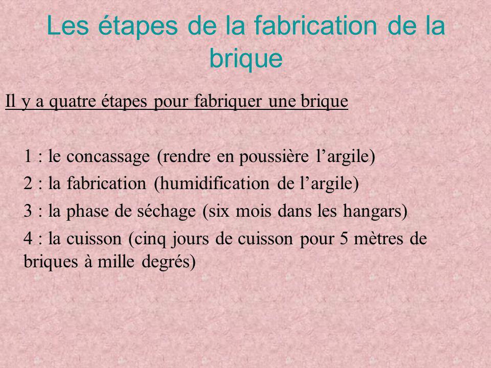 Les étapes de la fabrication de la brique Il y a quatre étapes pour fabriquer une brique 1 : le concassage (rendre en poussière l'argile) 2 : la fabri