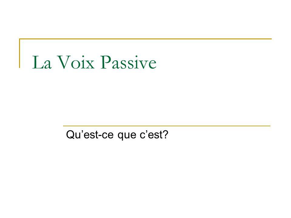 La Voix Passive Qu'est-ce que c'est?