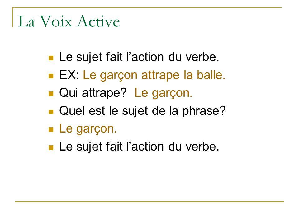 La Voix Active Le sujet fait l'action du verbe.EX: Le garçon attrape la balle.