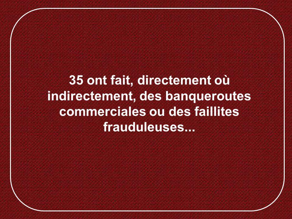 35 ont fait, directement où indirectement, des banqueroutes commerciales ou des faillites frauduleuses...