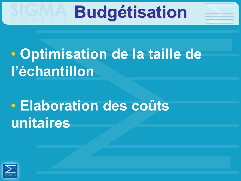 Budgétisation Optimisation de la taille de l'échantillon Elaboration des coûts unitaires