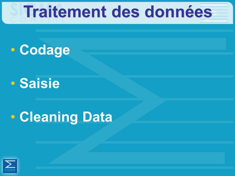 Traitement des données Codage Saisie Cleaning Data