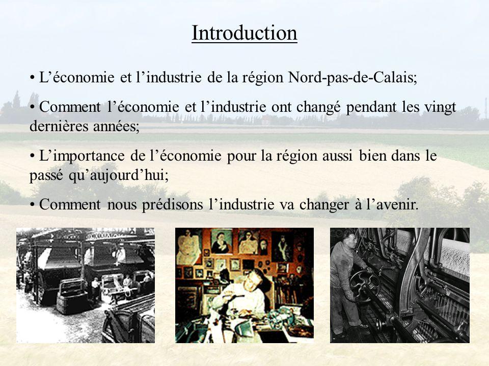Vue d'ensemble de l'industrie Nord-Pas-de-Calais est devenu un centre important des industries lourdes pendant le 19e siècle: - les mines de charbon; - les aciéries; - la fabrication de textiles traditionnels.
