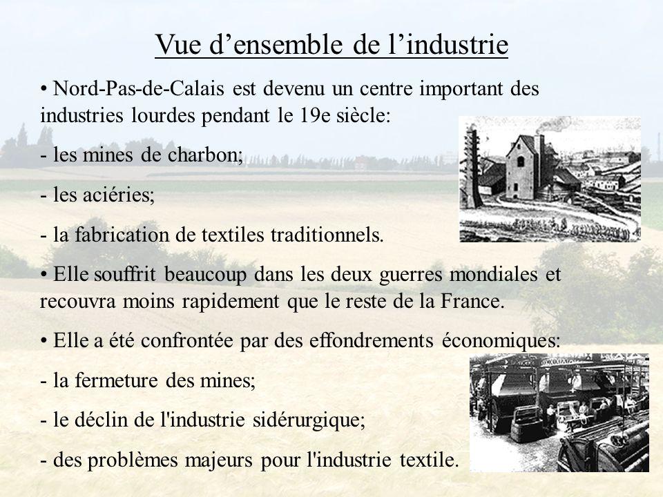 L'industrie de Nord-pas-de-Calais Nord-Pas-de-Calais est devenu un centre important d industries lourdes pendant le 19e siècle et a une longue tradition d activité industrielle.