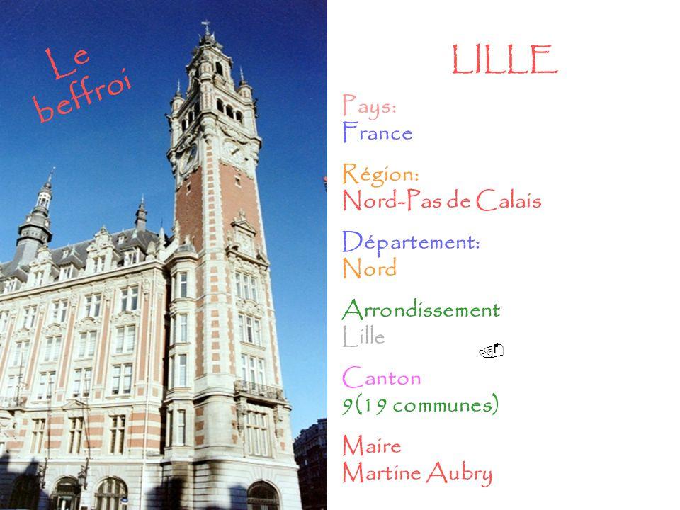 . Le beffroi LILLE Pays: France Région: Nord-Pas de Calais Département: Nord Arrondissement Lille Canton 9(19 communes) Maire Martine Aubry