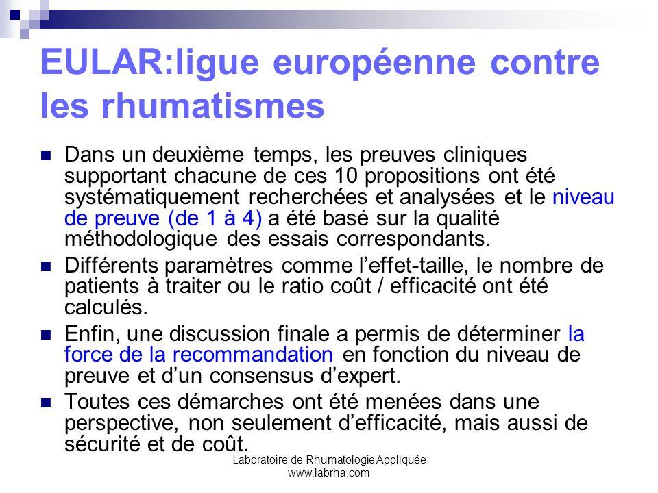 Laboratoire de Rhumatologie Appliquée www.labrha.com EULAR:ligue européenne contre les rhumatismes Dans un deuxième temps, les preuves cliniques supportant chacune de ces 10 propositions ont été systématiquement recherchées et analysées et le niveau de preuve (de 1 à 4) a été basé sur la qualité méthodologique des essais correspondants.