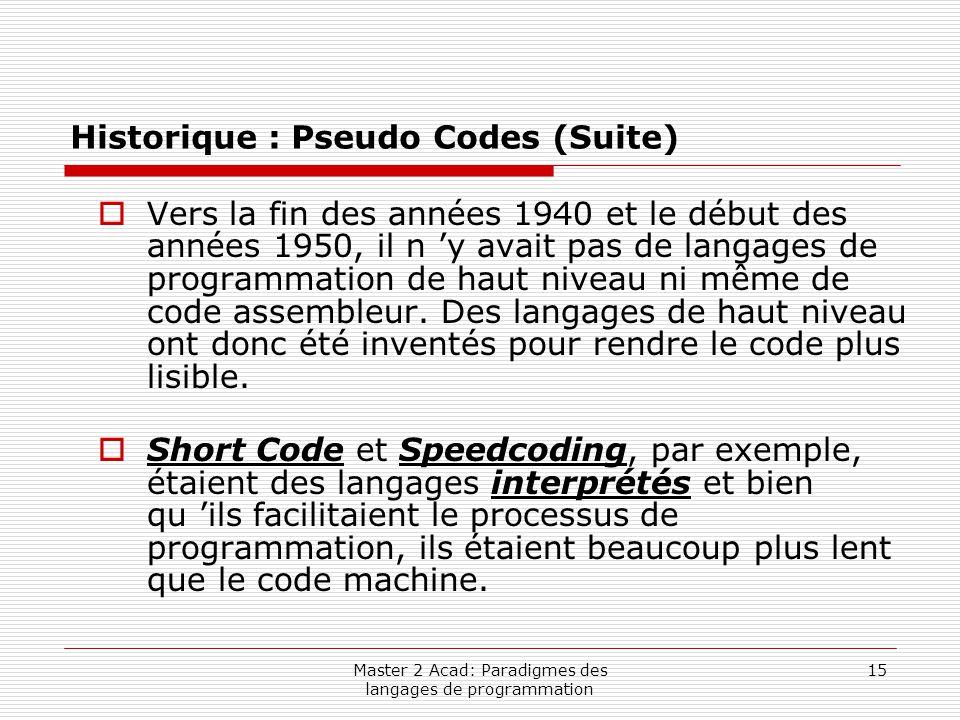 Master 2 Acad: Paradigmes des langages de programmation 15 Historique : Pseudo Codes (Suite)  Vers la fin des années 1940 et le début des années 1950