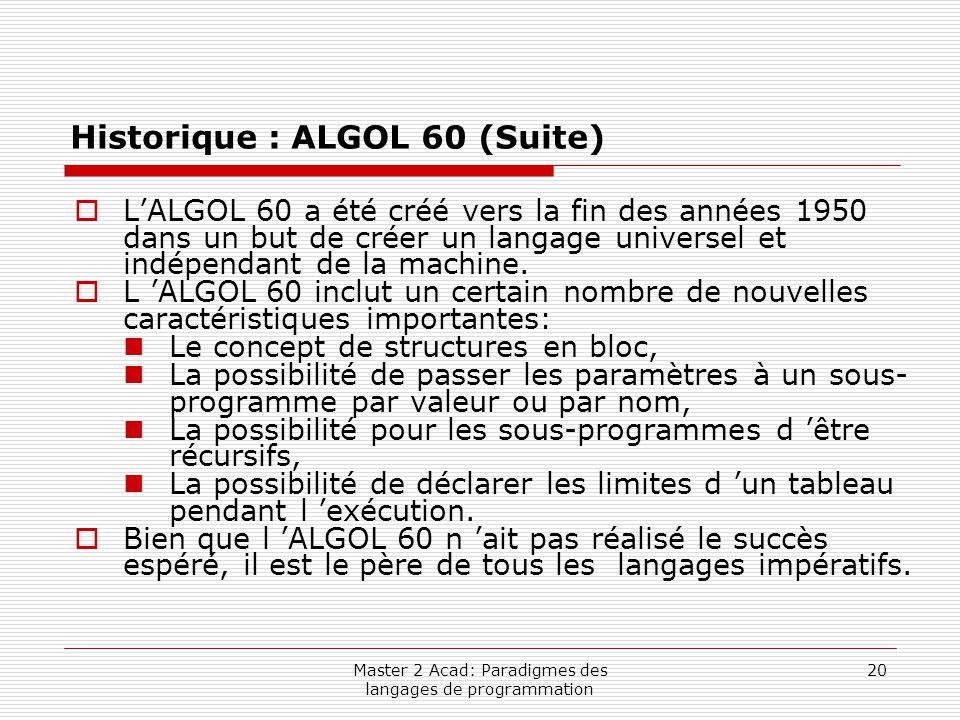 Master 2 Acad: Paradigmes des langages de programmation 20 Historique : ALGOL 60 (Suite)  L'ALGOL 60 a été créé vers la fin des années 1950 dans un b